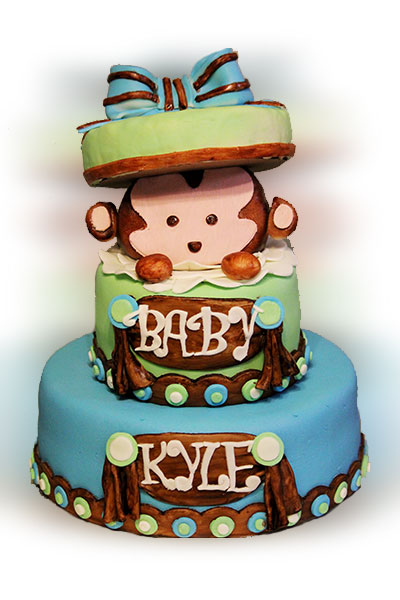 Monkey baby shower cakes - Baby shower monkey theme cakes ...