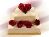 anniversary-ivory-fondant-cake-with-gold-fondant-ribbon-and-fresh-roses
